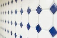 Mosaïque céramique octogonal blanc mat bleu brillant 13-OctaG464_b | 1 plaque