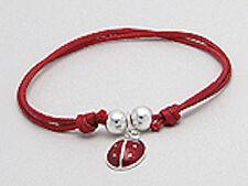 CHILDRENS Solid Sterling Silver & Red Enamel Ladybug on Cotton Thread Bracelet