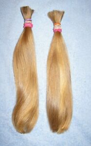 HUMAN HAIR TWO SILKY BLONDE PONYTAILS FROM ONE FEMALE HAIRCUT REBORN DOLLS P74