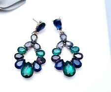 Antique Style Crystal Drop Earrings Emerald Green Vintage Gold Fashion UK