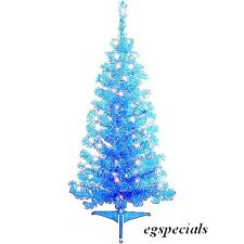 4 FT PRE-LIT AQUA/BLUE ARTIFICIAL CHRISTMAS TREE / 70 BLUE LIGHTS /110 TIPS~NIB