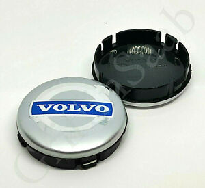 1x Volvo Alloy Wheel Centre Hub 64mm Cap Silver & Blue C30 C70 S40 V50 S60 V70