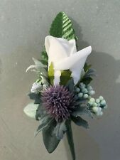 Scottish Wedding Flowers Buttonhole Rose Thistle & Gyp With Foliage
