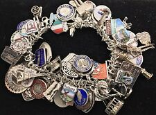 Vintage Sterling Silver 925 Travel (67) Charm Bracelet Enamel Europe US 123+Gram