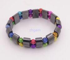 "Natural Black Magnetic Hematite  Bracelet Multi-Color Flower Beads Stretch 6"""