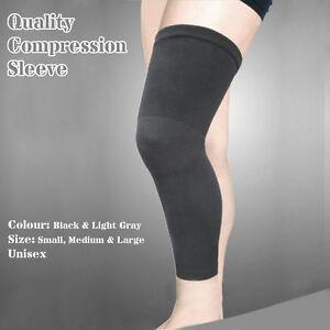 Bamboo Long Compression Leg Sleeve Thigh Knee Calf Shin Support Brace