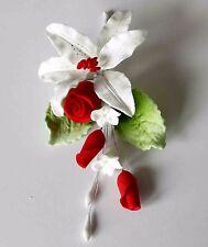 SPRAY Rose Rosso, Piccolo, fiori di zucchero, cake topper, Gum pasta, pasta di zucchero