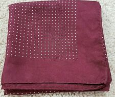 Breuer silk hand made dark red w/ivory polka dots pocket square made in France