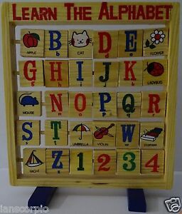 CHILDRENS WOODEN ALPHABET EDUCATIONAL LEARNING ***NEW***