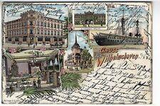 Org. AK Wilhelmshaven Wiener Cafe Kaiserhof Artillerie Schiff 1900 Restaurant