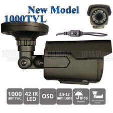 "1000TVL CCTV Vandal Proof IR Bullet Camera 1/3"" 2.8-12mm WDR OSD 42pc 130'"