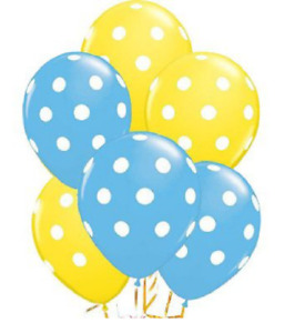 24 BALLOONS YELLOW LIGHT BLUE POLKA DOT Latex Party Baby Shower Birthday EASTER