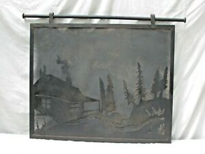 Antique Rustic Cabin / Lodge Pictorial Iron Fire Screen Cabin Trees and a Bear