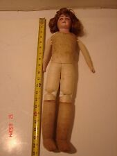 """VINTAGE 20 INCH BISQUE DOLL MARKED WITH """"H,h"""" GERMANY LEATHER BODY PARTS REPAIR"""
