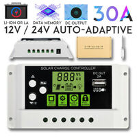 30A LCD PWM Solar Panel Charger Controller For Li-ion Lead Acid Battery 12V/24V