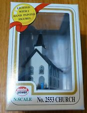 Model Power N #2553 Structure Deluxe Built-Up Lighted w/2 Figures -- Church