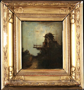 19th CENTURY FRENCH OIL PANEL - WINDMILL AT SUNSET - INDISTINCTLY SIGNED