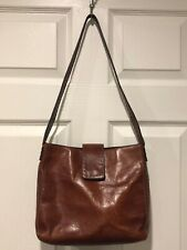 Red Natural Grain Leather Fossil Shoulder Bag with Whip Stitch ZB9097