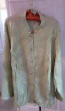 Notations mint green rouched button front 2X shirt turn back 3/4 cuff sleeves