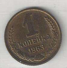 RUSSIA,  1963,   1 KOPEK,  BRASS,  Y#126a,  ALMOST UNCIRCULATED