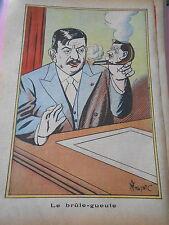 Humour La Pipe Le Brûle Gueule dessin Print 1936