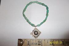 Green Turquoise Stretch Bracelet w Sterling Cross Charm