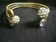 "Abercrombie & Fitch Brushed Brasstone Metal Clear Crystal 7.25"" Cuff Bracelet"