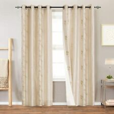 """Faux Silk Floral Embroidered Grommet Curtains 84"""" Long- 2 Panels- Light Gold"""
