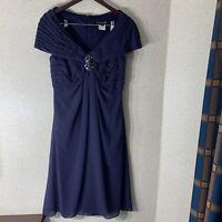 Tadashi Shoji Womens Size 10 Navy Blue Dress Style kn90123m Elegant V-Neck Party