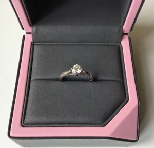 Boodles Diamond Solitaire .42 ct Platinum engagement ring & Tiffany ring Pouch