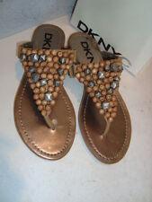 DKNYC DKNY New Womens Alex Tan Textured Leather Sandals Shoes 7.5 Medium