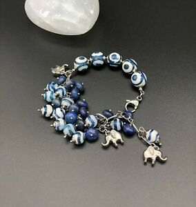 Natural Lapis Lazuli and Natural Agate Bracelet with Elephant Charms