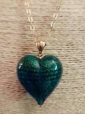 Qvc Sterling Silver Yellow Gold Clad Large Murano Heart And Chain