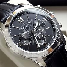 BULOVA cronografo maschile in pelle nera in acciaio INOX NUOVO PREZZO CONSIGLIATO £ 199