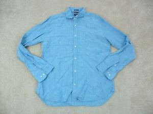 Tommy Hilfiger Button Up Shirt Adult Large Blue Linen Long Sleeve Men A17*