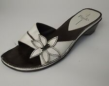 Linea Paolo Sandals Slides Shoes Slip Ons Brown White Floral Open Toe Womens 8 M