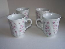 Vtg Czech Made in Czechoslovakia Karlovarsky Pink Floral Tea Cups or Coffee Mugs