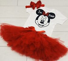 Luxury Girls 2nd Second Birthday Outfit Vest Set Net Tutu Skirt Minnie Mouse TWO