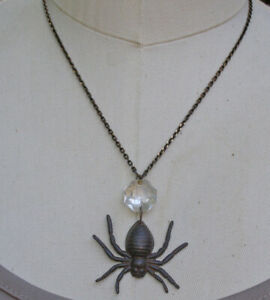 Black Brown Rustic Gothic Spider Vintage Chandelier Crystal Necklace Jewelry Art