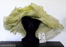 CHAPEAU taille S / XS de cérémonie femme CHERI BIBI vert jaune mariage green hat