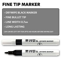 DRY WIPE BLACK BULLET TIP White Board marker pens Drywipe Markers Fine Thin Tip