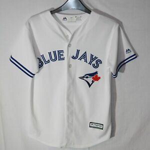 BOYS MLB TORONTO BLUE JAYS MAJESTIC BASEBALL SHIRT SIZE AGE 10-12 YOUTH