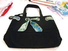 Ion black purse/handbag/pocketbook with blue paisley scarf
