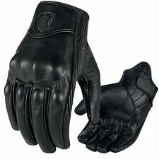 Leather Tactical Military Biker Knuckle Protective Motorcycle Full Finger Gloves M