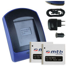 2x Baterìas + USB Cargador NB-4L para Canon PowerShot SD1100 IS, SD1400 IS
