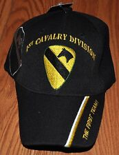 Black 1st First Cavalry Division Army Hat Baseball Ball Cap The First Team