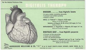 Digitalis Therapy Burroughs Wellcome Medicine Pharmaceutical Advertising Blotter