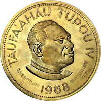 Vintage Coin Tonga 1968 1 Pa'anga Taufa'ahau Tupou IV Countermarked 1971 KM# 36