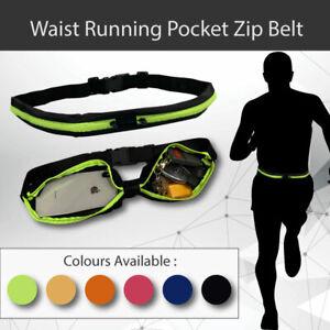 1 X Waist Running Pocket Zip Belt Lycra Bum Bag Hiking Cycling Jogging Pouch