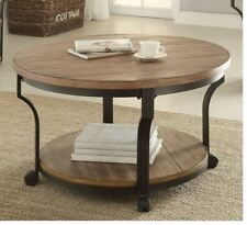 Rustic Coffee Table Round Wood Metal Living Room Furniture Farmhouse Vintage NEW